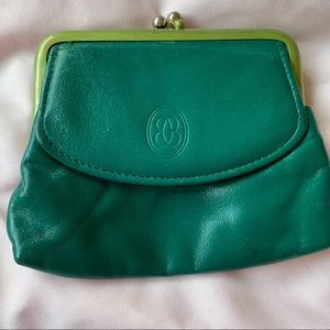 Buxton Coin Purse Green Leather